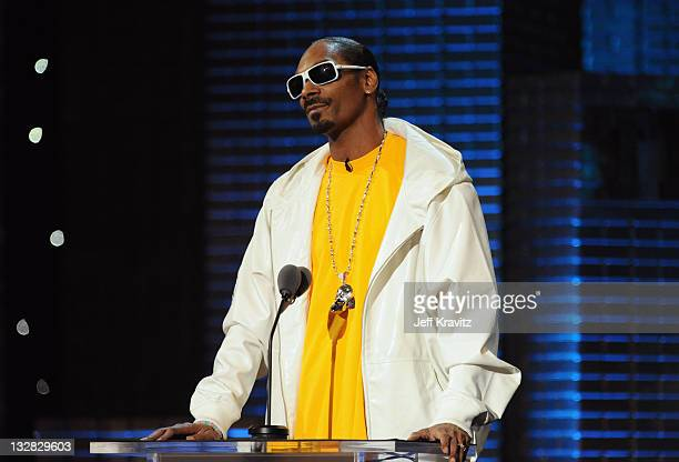 Rapper Snoop Dogg speaks onstage at the COMEDY CENTRAL Roast of Donald Trump at the Hammerstein Ballroom on March 9 2011 in New York City