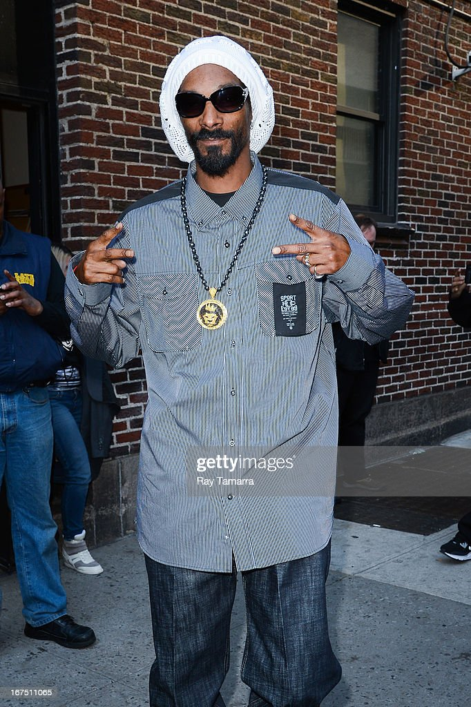Rapper Snoop Lion leaves the 'Late Show With David Letterman' taping at the Ed Sullivan Theater on April 25, 2013 in New York City.
