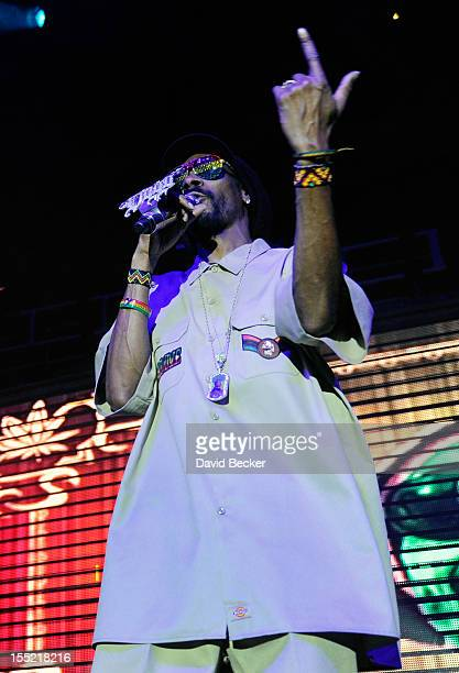 Rapper Snoop Lion performs during the 10th annual Gran Turismo Awards at the 2012 SEMA Show at the Rain Nightclub inside the Palms Casino Resort on...