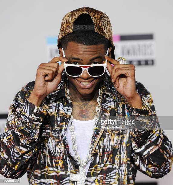 Rapper Soulja Boy arrives at the 2011 American Music Awards at Nokia Theatre LA Live on November 20 2011 in Los Angeles California