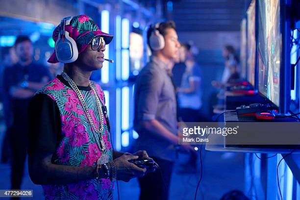 Rapper Soulja Boy plays Halo 5 during the Xbox One E3 Showcase Party at The Majestic Downtown on June 15 2015 in Los Angeles California