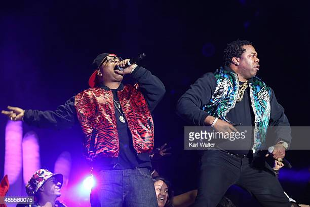Rapper Spliff Star and Busta Rhymes performs with Girl Talk onstage during day 1 of the 2014 Coachella Valley Music Arts Festival at the Empire Polo...