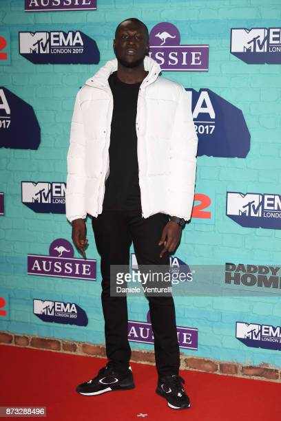 Rapper Stormzy attends the MTV EMAs 2017 held at The SSE Arena Wembley on November 12 2017 in London England
