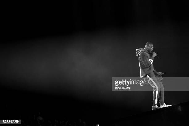 Rapper Stormzy performs on stage during the MTV EMAs 2017 held at The SSE Arena Wembley on November 12 2017 in London England