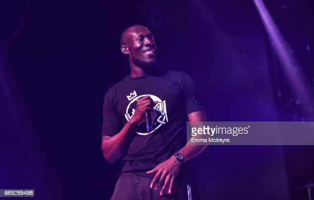 Rapper Stormzy performs on the Mojave stage during day 3 of the Coachella Valley Music And Arts Festival at the Empire Polo Club on April 16 2017 in...