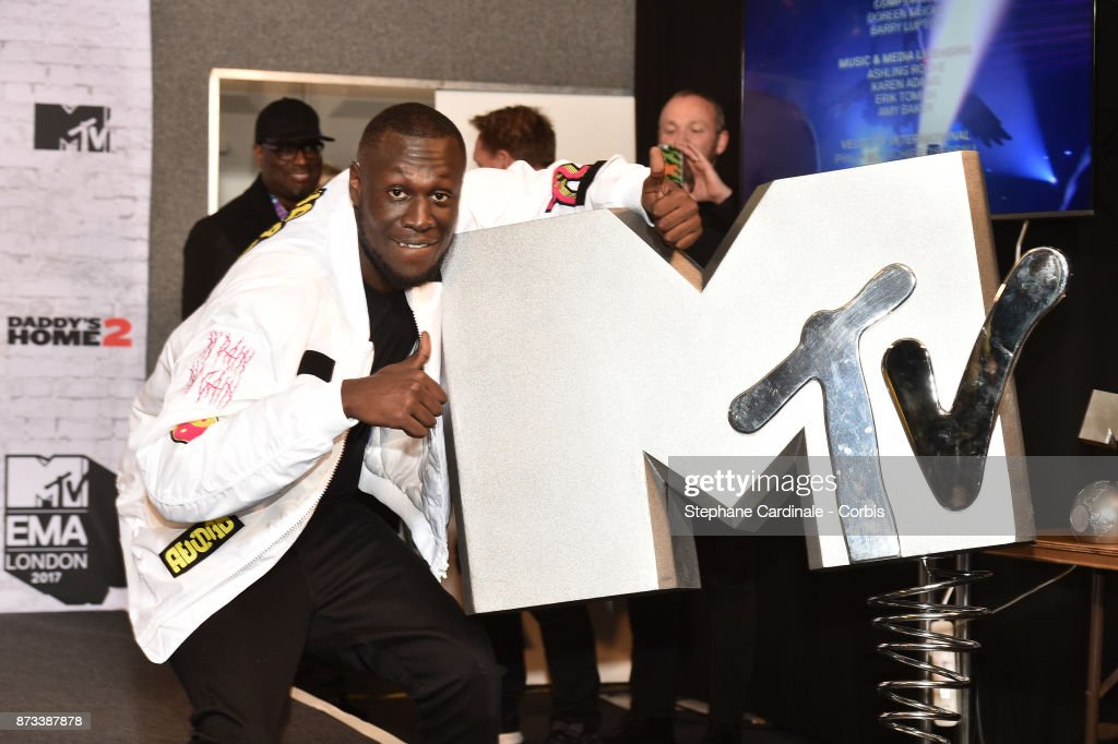 Rapper Stormzy poses in the Winners Room during the MTV EMAs 2017 held at The SSE Arena, Wembley on November 12, 2017 in London, England.