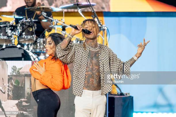 Rapper Swae Lee on stage with French Montana as they perform On ABC's Good Morning America at Rumsey Playfield Central Park on August 23 2019 in New...