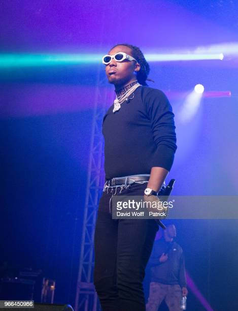 Rapper Takeoff from Migos performs at We Love Green Festival on June 2 2018 in Paris France