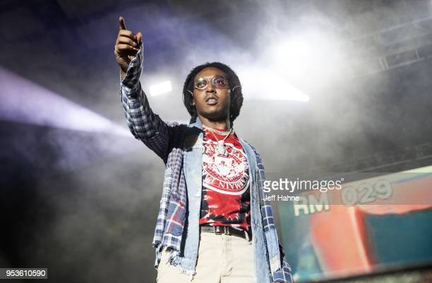 Rapper Takeoff of Migos performs at Charlotte Metro Credit Union Amphitheatre on May 1, 2018 in Charlotte, North Carolina.