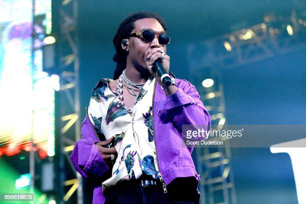 Rapper Takeoff of the group Migos performs onstage at the Rolling Loud Festival at NOS Events Center on December 16 2017 in San Bernardino California