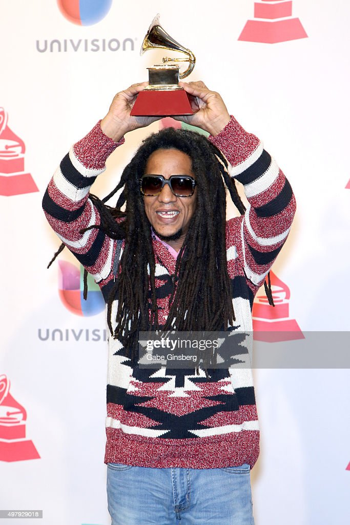 Rapper Tego Calderón, winner of Best Urban Music Album, poses in the press room during the 16th Latin GRAMMY Awards at the MGM Grand Garden Arena on November 19, 2015 in Las Vegas, Nevada.