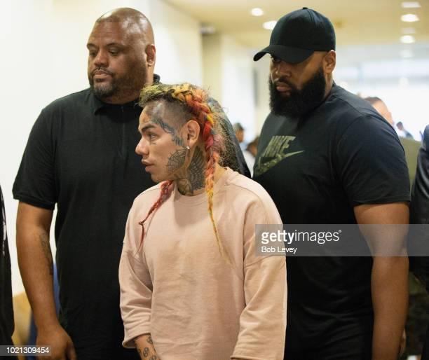 Rapper Tekashi69, real name Daniel Hernandez and also known as 6ix9ine, Tekashi 6ix9ine, Tekashi 69, arrives for his arraignment on assault charges...