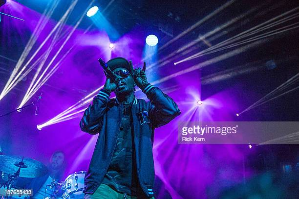 Rapper Teren Delvon Jones aka Del the Funky Homosapien of Deltron 3030 performs on stage during Day 3 of Fun Fun Fun Fest at Auditorium Shores on...