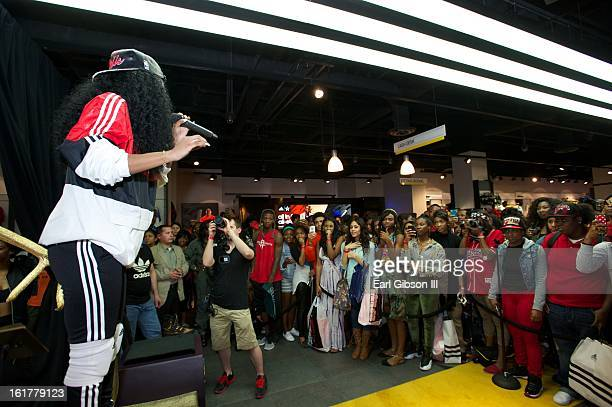 Rapper Teyana Taylor performs at the Adidas Store in the Galleria Mall on February 15 2013 in Houston Texas