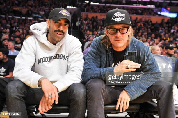 Rapper The Boyboy West Coast and Diplo attend a basketball game between the Los Angeles Lakers and the Sacramento Kings at Staples Center on March 24...