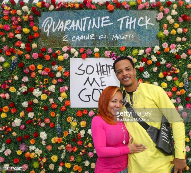 Rapper T.I and Tiny attend The 2 Chainz Quarantine Thick Brunch at Breakfast at Barney's on November 8, 2020 in Atlanta, Georgia.