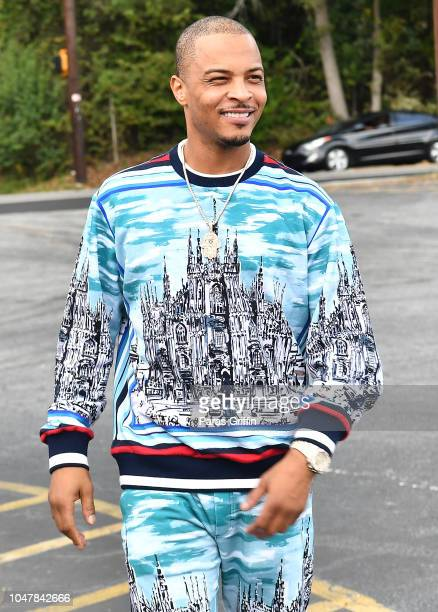 Rapper TI arrives at his Harris Community WorksÊVoter Registration Drive and Community Cookout on October 8 2018 in Atlanta Georgia