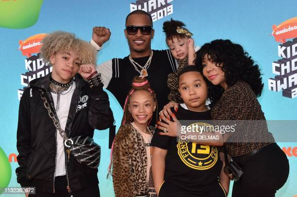 US rapper TI wife singersongwriter Tiny and their children Clifford King Joseph Harris III Layah Amore Harris Major Philant Harris and Heiress Diana...