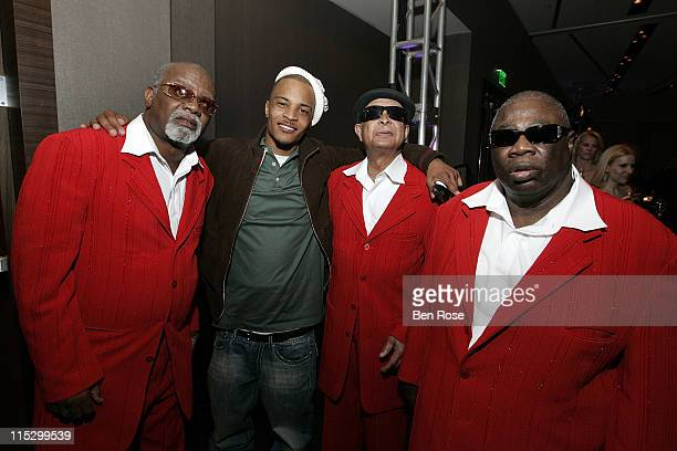 Rapper TI with Ricky McKinnie Jimmy Carter and Bishop Billy Bowers of The Blind Boys of Alabama attend the GRAMMY Nominee Reception at W Hotel...