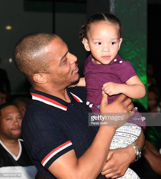"""Rapper Tip """"T.I"""" Harris and Heiress Diana Harris attend """"The Grand Hustle"""" Exclusive Viewing Party at The Gathering Spot on July 19, 2018 in Atlanta,..."""