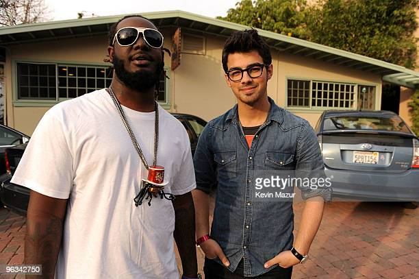 """Rapper T-Pain and musician Joe Jonas attend the """"We Are The World 25 Years for Haiti"""" recording session held at Jim Henson Studios on February 1,..."""