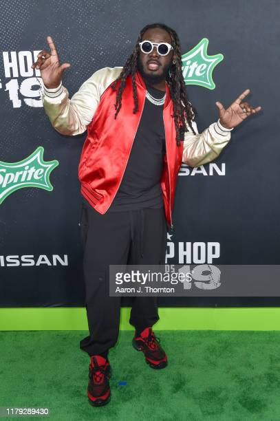 Rapper T-Pain arrives to the 2019 BET Hip Hop Awards on October 05, 2019 in Atlanta, Georgia.
