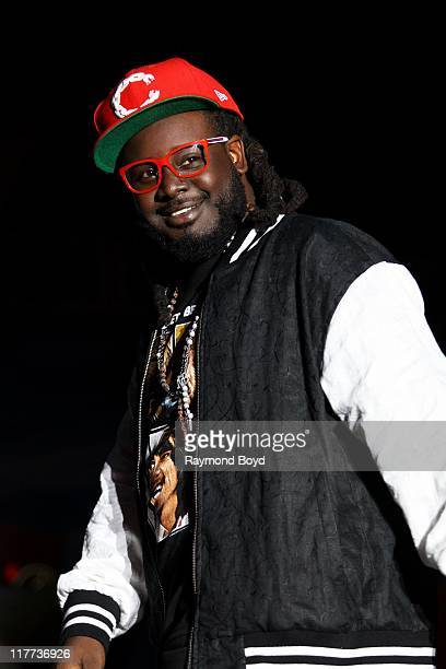 Rapper T-Pain performs during the B96 Pepsi Summerbash at Toyota Park in Bridgeview, Illinois on June 11, 2011.
