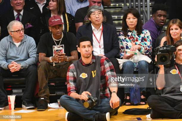 Rapper Travis Scott and Dr Patrick SoonShiong attend a basketball game between the Los Angeles Lakers and the Houston Rockets at Staples Center on...
