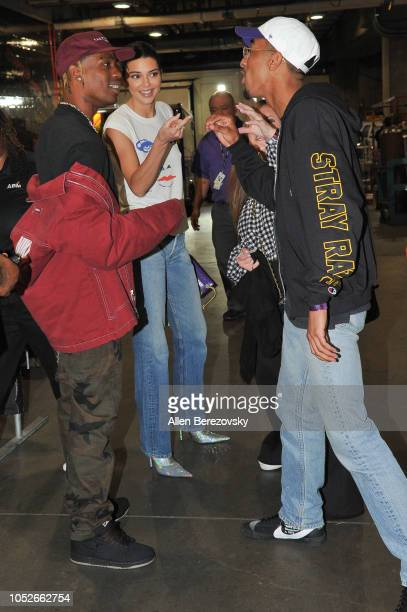 Rapper Travis Scott and Kendall Jenner attend a basketball game between the Los Angeles Lakers and the Houston Rockets at Staples Center on October...