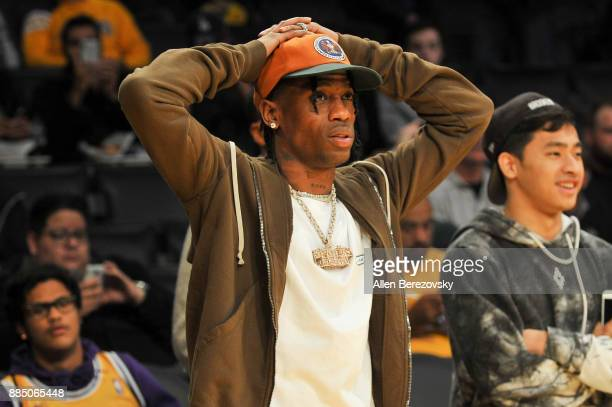 Rapper Travis Scott attends a basketball game between the Los Angeles Lakers and the Houston Rockets at Staples Center on December 3 2017 in Los...