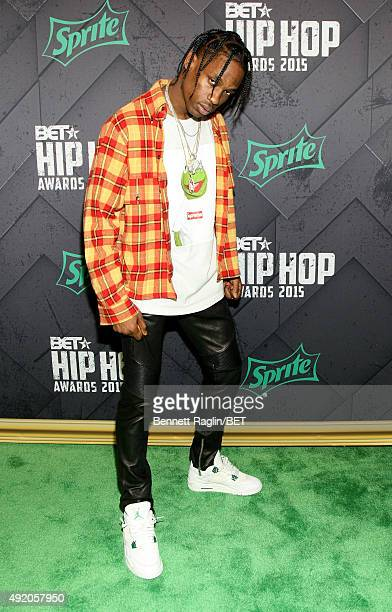 Rapper Travis Scott attends the BET Hip Hop Awards 2015 presented by Sprite at Atlanta Civic Center on October 9 2015 in Atlanta Georgia