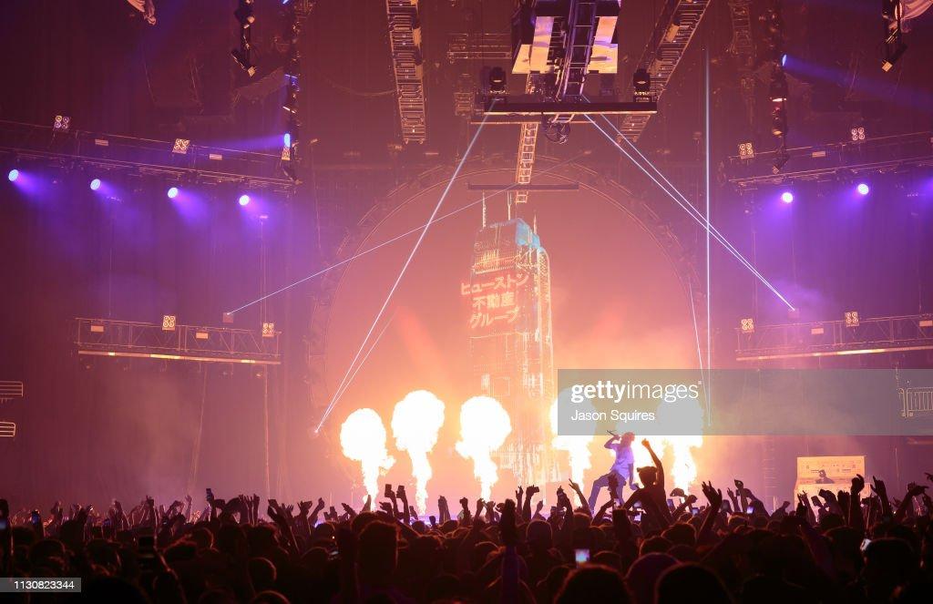 51c83560b357 Rapper Travis Scott performs at Sprint Center on February 17, 2019 ...