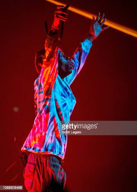 Rapper Travis Scott performs during his Astroworld Tour at Little Caesars Arena on December 5 2018 in Detroit Michigan