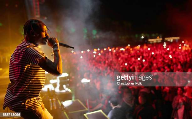 Rapper Travis Scott performs on the Coachella Stage during day 1 of the Coachella Valley Music And Arts Festival at the Empire Polo Club on April 14...
