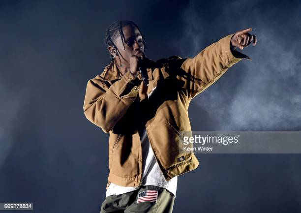 Rapper Travis Scott performs on the Coachella Stage during day 3 of the Coachella Valley Music And Arts Festival at the Empire Polo Club on April 16...