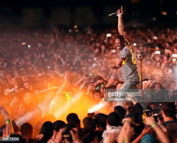 Rapper Travis Scott performs on the Outdoor Stage during day 1 of the Coachella Valley Music And Arts Festival at the Empire Polo Club on April 14...