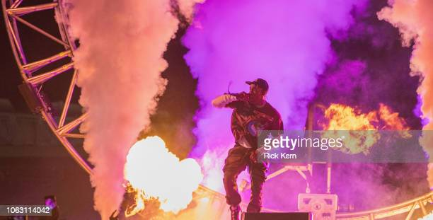 Rapper Travis Scott performs onstage during his inaugural Astroworld Festival at NRG Park on November 17 2018 in Houston Texas