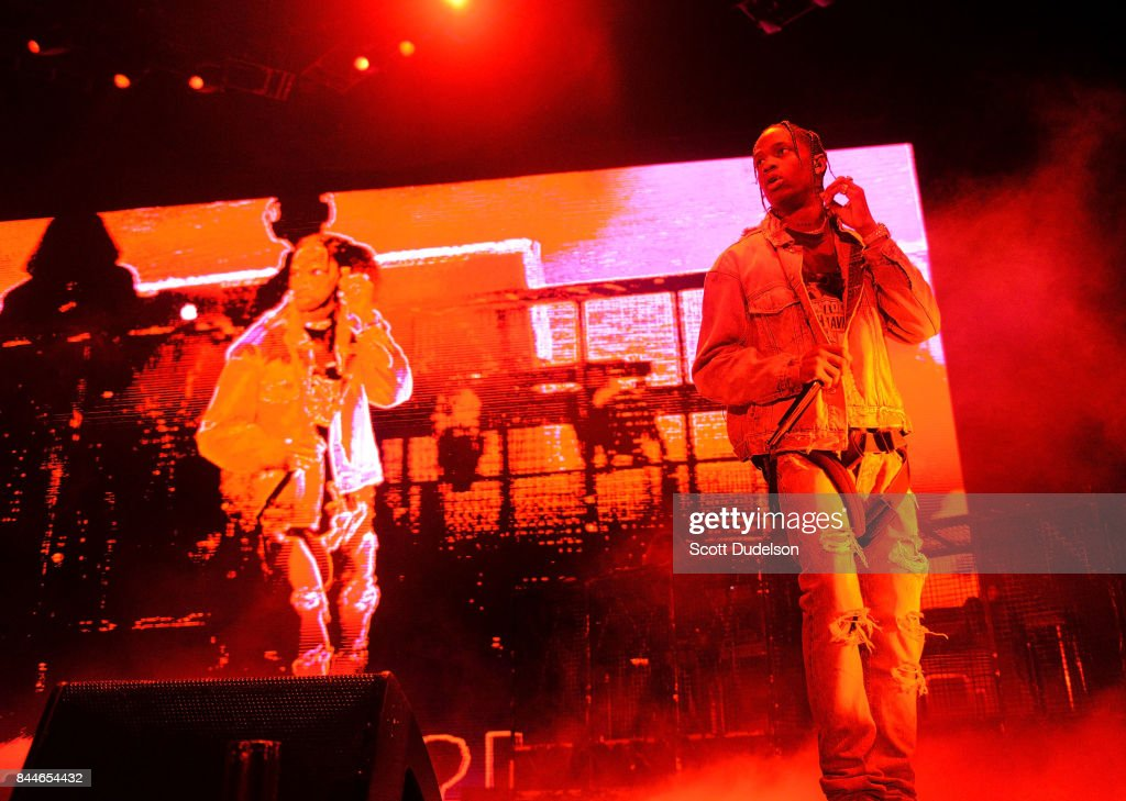 Rapper Travis Scott performs onstage during the Day N Night Festival at Angel Stadium of Anaheim on September 8, 2017 in Anaheim, California.