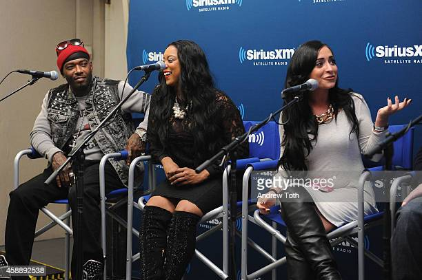 Rapper Treach Criss Cicely Evans and Angelina Pivarnick attend Dr Jenn Berman tapes The Dr Jenn Show at SiriusXM Studios on November 11 2014 in New...