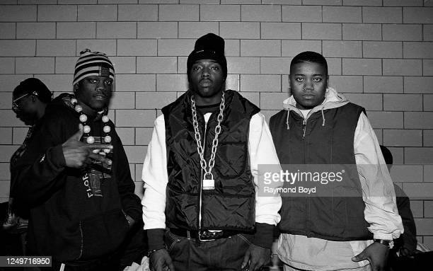 Rapper Treach of Naughty By Nature poses for photos with rapper B-Hype and Tung Twista during a celebrity basketball game in Chicago, Illinois in May...