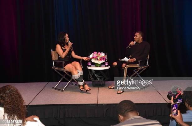 Rapper Trina and Reginald Stewart attend Tune Chats Honoring Trina on July 11 2019 in Atlanta Georgia