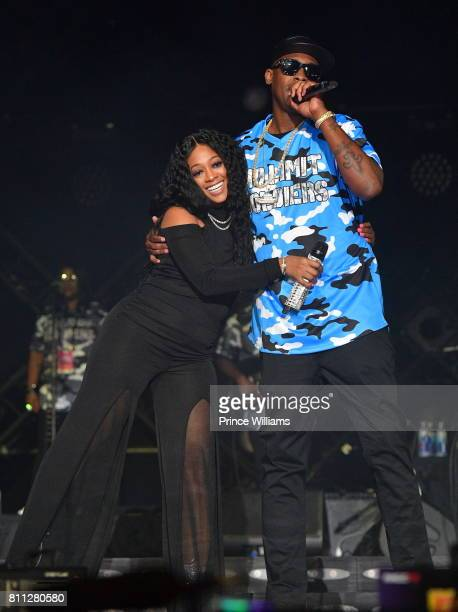 Rapper Trina and Silkk The shocker perform during the 2017 ESSENCE Festival Presented by Coca Cola at the Mercedes-Benz Superdome on July 2, 2017 in...