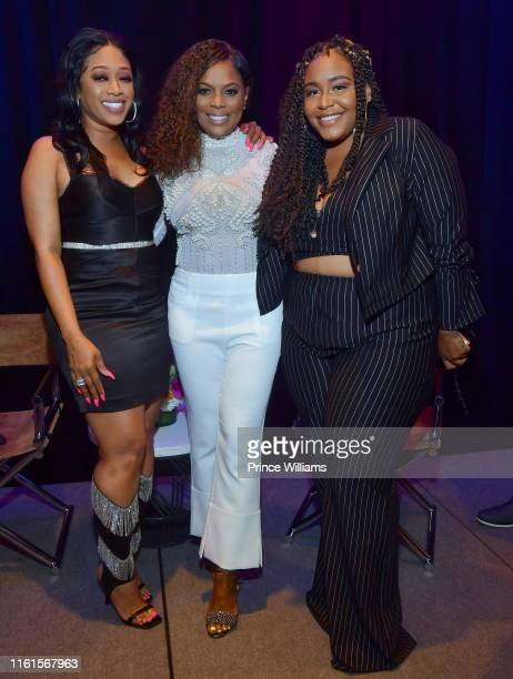 Rapper Trina Catherine Brewton and Carlysia Levert attend Tune Chats Honoring Trina on July 11 2019 in Atlanta Georgia