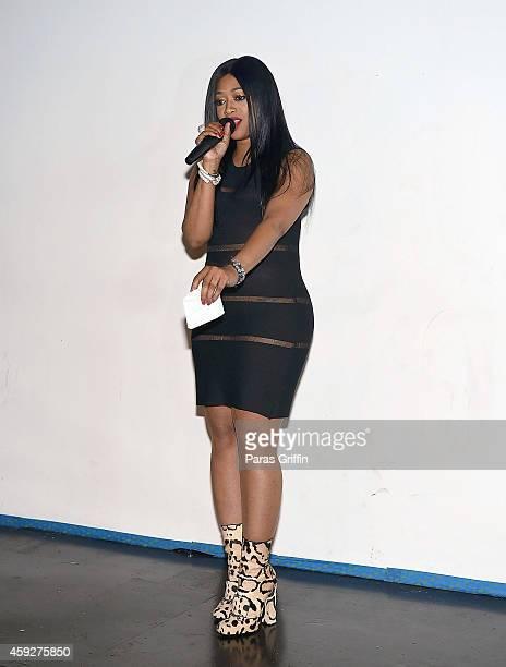 Rapper Trina onstage at Fashion Jams at Social Haven on November 19 2014 in Atlanta Georgia