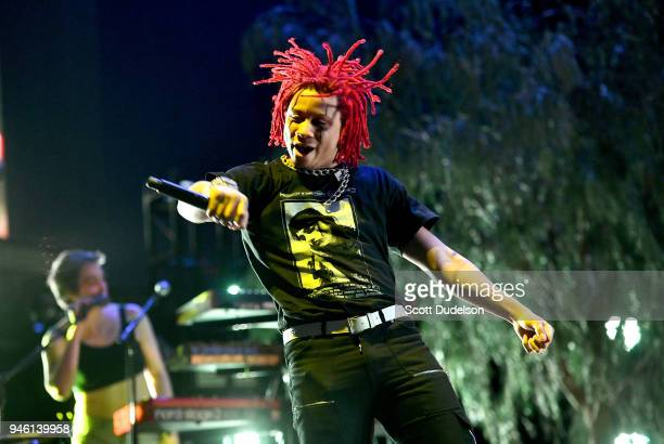 Rapper Trippie Redd perform as a special guest on the Coachella stage during week 1 day 1 of the Coachella Valley Music And Arts Festival on April 13...