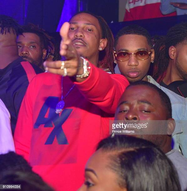 Rapper Trouble and Key Glock attends Trouble Welcome Home Party at Gold Room on January 26 2018 in Atlanta Georgia