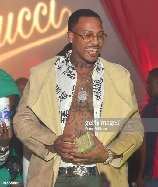 Rapper Trouble attends Trap Du Soleil Celebrating YFN Lucci on February 13 2018 in Atlanta Georgia