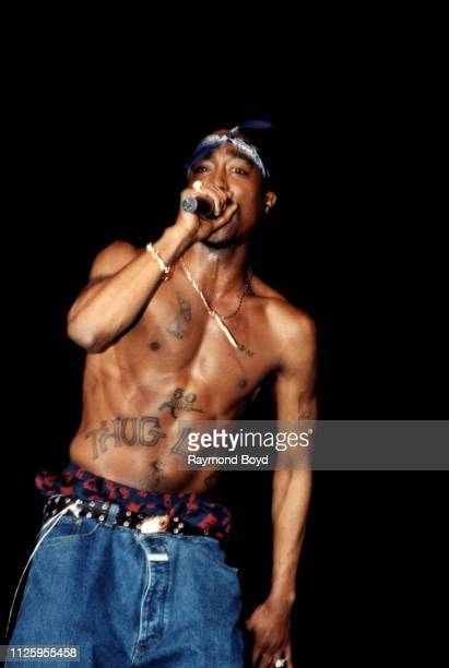 Rapper Tupac Shakur performs at the Regal Theater in Chicago Illinois in March 1994