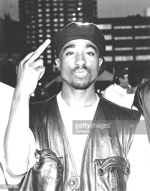 Rapper Tupac Shakur performs onstage at Club Amazon on July 23 1993 in New York New York