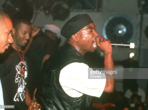 Rapper Tupac Shakur performs onstage at the Palladium on July 23 1993 in New York New York